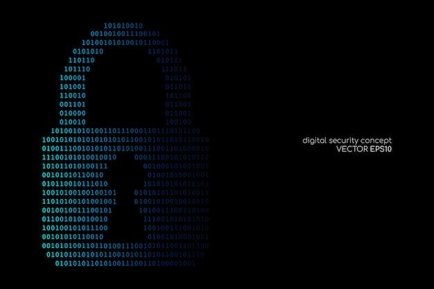 Internet oder digitales sicherheitskonzept durch den binären code, der ein vorhängeschlossblau auf schwarzen hintergründen zeichnet.