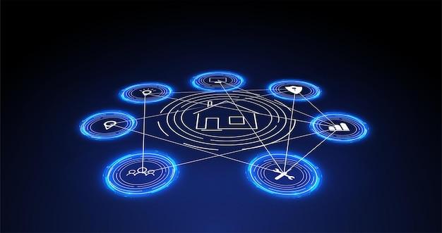 Internet of things (iot) und vernetzungskonzept für vernetzte geräte. spinnennetz von netzwerkverbindungen mit auf einem futuristischen blauen hintergrund. digitales designkonzept. iot-hologramm