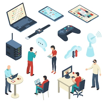 Internet of things isometric set