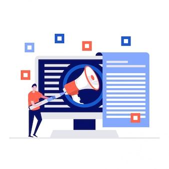 Internet-promotion-illustrationskonzept mit charakteren und einem großen megaphon.