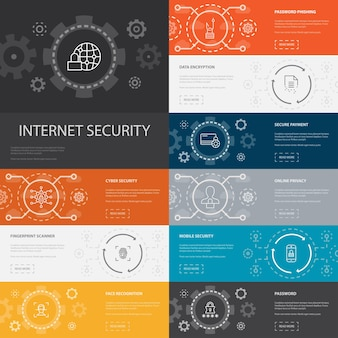 Internet security infographic 10-zeilensymbole banners.cyber-sicherheit, fingerabdruckscanner, datenverschlüsselung, einfache kennwortsymbole