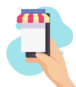 Internet-shop-shop auf handy online-e-commerce-konzept auf smartphone