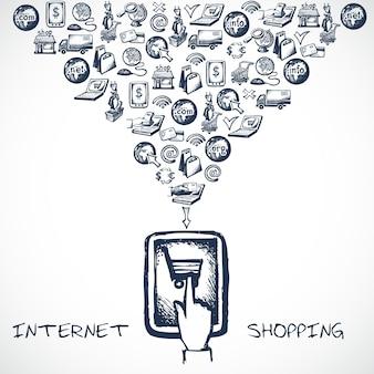 Internet-shopping-skizze-konzept Kostenlosen Vektoren