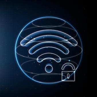 Internet-sicherheits-kommunikationstechnologie-vektor-blaues symbol mit schloss