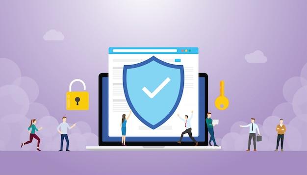 Internet-sicherheitskonzept mit browser und personen, flacher stil