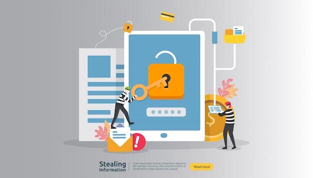 Internet-sicherheitskonzept mit leutecharakter. passwort-phishing-angriff. diebstahl persönlicher informationen daten web
