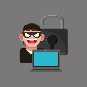 Internet sicherheitsrelevante symbole bild