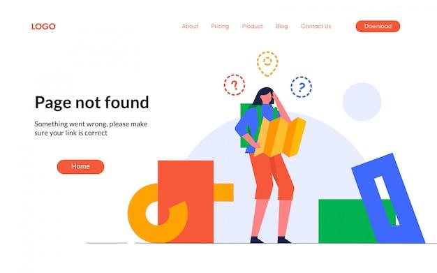 Internet-signalverbindungsfehler 404 leere zustände nicht gefunden verlorene reisende design-charakter-illustration