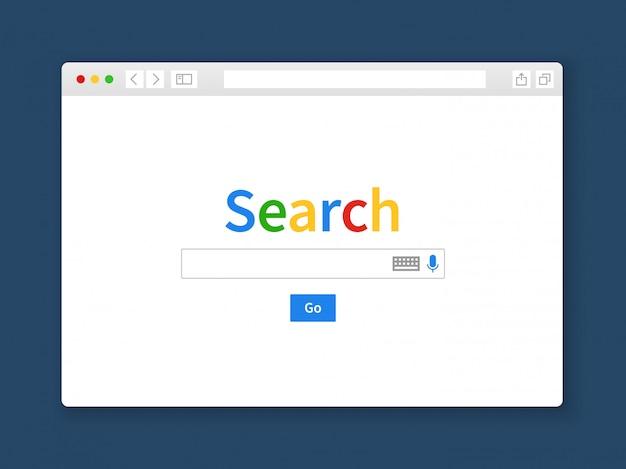 Internet-suchfenster. browser suchmaschine computer bildschirm form zeile webseite engine leere registerkarte website