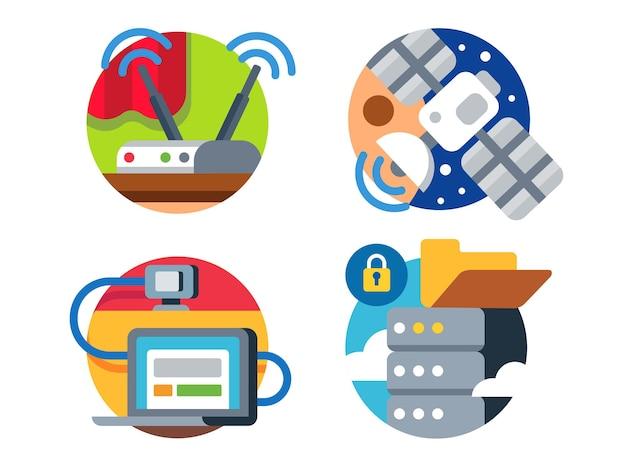 Internet-technologie durch satellitenübertragung von informationen oder datenwolke icon set. illustration