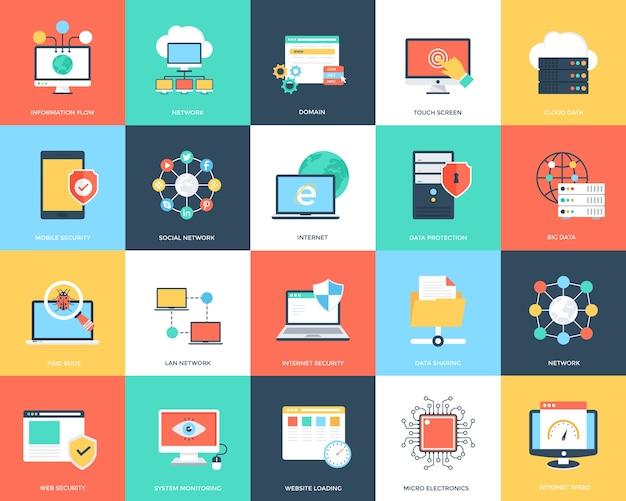 Internet-technologie und sicherheits-flache ikonen eingestellt