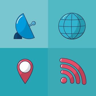 Internet- und multimediasatz des ikonenvektor-illustrationsgrafikdesigns