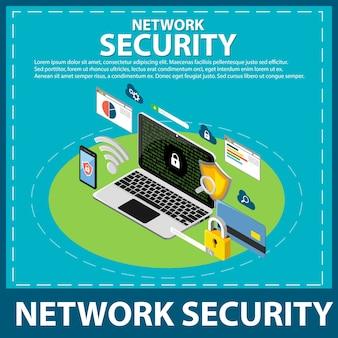 Internet und netzwerksicherheit isometrische symbole