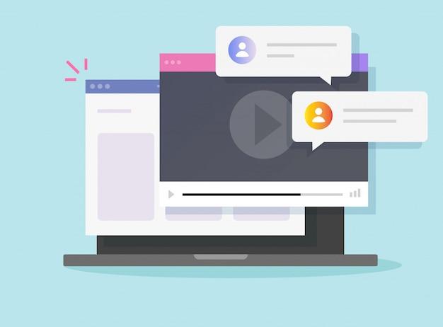 Internet-videoanruf online-player auf laptop-website-fenster