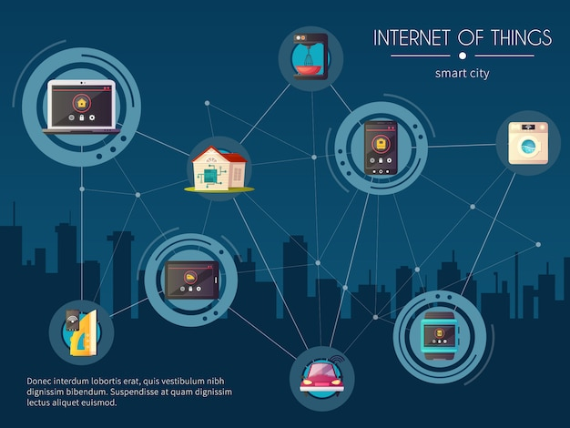 Internet von sachen iot intelligentes stadtnetz des automobilnetzes retro mit nachtstadtbild