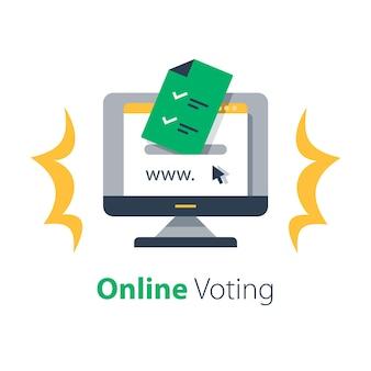 Internet-voting, online-einreichung, regierungsdienste, dokument mit häkchen, upload-datei, illustration