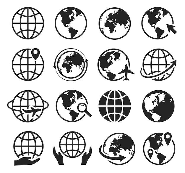Internet-web-icons mit globus-cursor-pfeil globale flugzeugreise-weltkarte international set