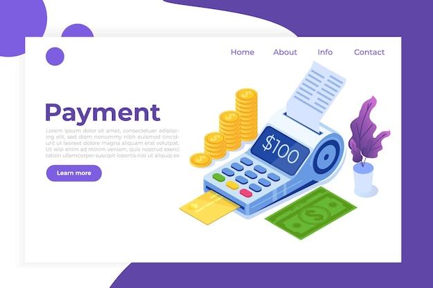 Internetbanking, digitales mobiles bezahlen, isometrisches isometrisches konzept des pos terminal.