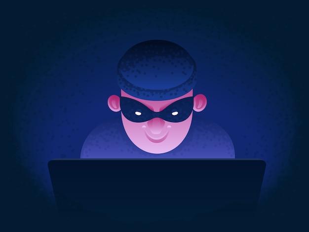 Internetbetrug. hacker hinter einem laptop-monitor. phishing und überwachung. identitätsdiebstahl und hacking von bankkarten und e-mails. cyberkriminalität. illustration im cartoon-stil.
