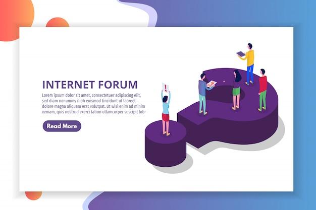 Internetforum, menschen kommunizieren, gesellschaft isometrisches konzept. illustration