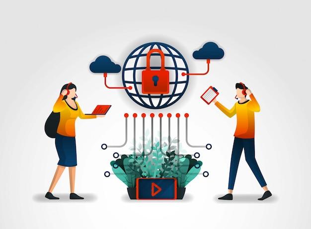 Internetnetzwerk und kundenservice mit bester sicherheit