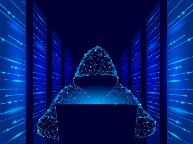Internetsicherheits-cyberangriffs-geschäftskonzept niedrig poly. anonymer hacker am laptop