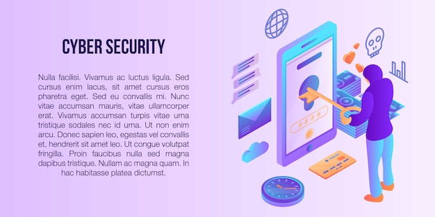 Internetsicherheitskonzeptfahne, isometrische art