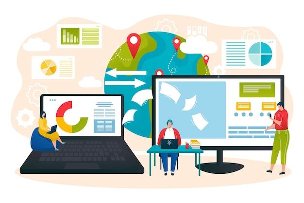 Internetspeicher, business-netzwerktechnologie, vektorillustration. winzige mannfrauen-charakterkommunikation in der wolke, computerbildschirm in der nähe des planeten. online-verbindungssystem für den arbeitsdienst.