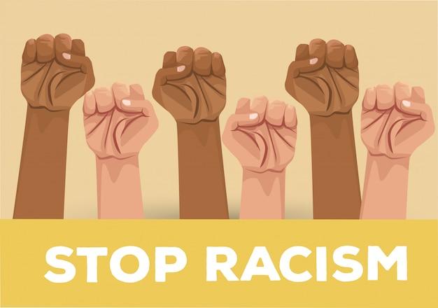Interracial hände stoppen rassismuskampagne