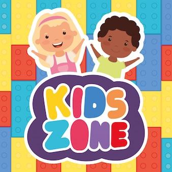 Interracial kinder mit kids zone schriftzug