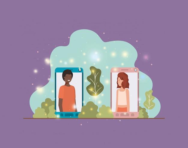Interracial paar in smartphone auf landschaft