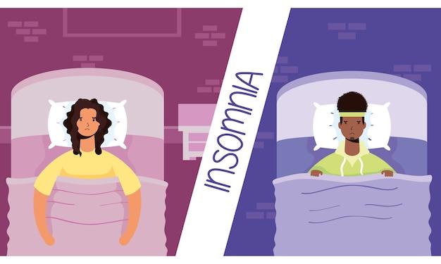 Interracial paar leiden unter schlaflosigkeit zeichen illustration