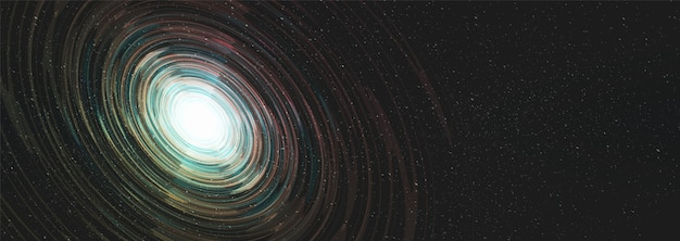 Interstellarer panorama-nebel auf galaxienhintergrund mit milchstraßen-spirale, universum und sternenkonzept