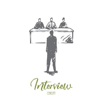 Interview, job, arbeit, besprechung, bürokonzept. hand gezeichneter mitarbeiter auf vorstellungsgesprächskonzeptskizze.