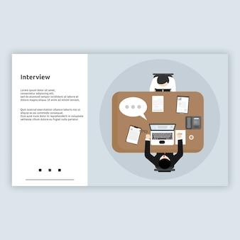 Interview. landing page flat design-konzept für unternehmen, online-unternehmen, startups, e-commerce und vieles mehr