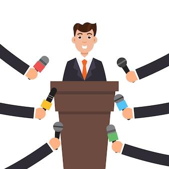 Interview oder pressekonferenz ein geschäftsmann.