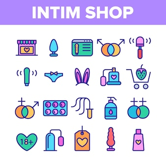 Intim shop elemente icons set