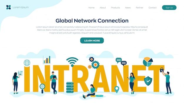 Intranet. globale netzwerkverbindungstechnologie. geschäftsteam.