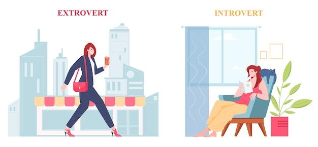 Introvertierte und extrovertierte individualität von menschen