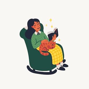 Introvertiertes konzept. mädchen, das ein buch auf sessel mit einer katze liest.