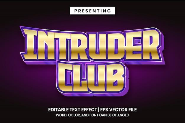 Intruder club - moderner bearbeitbarer texteffekt im metallic-logo-stil