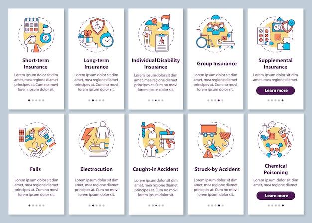 Invalidenversicherung auf dem bildschirm der mobilen app-seite mit festgelegten konzepten.