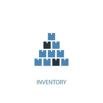 Inventarkonzept 2 farbiges symbol. einfache blaue elementillustration. inventar-konzept-symbol-design. kann für web- und mobile ui/ux verwendet werden