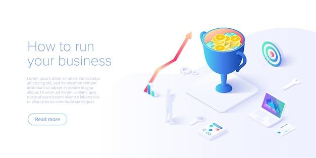 Investieren sie geld mit bedacht in isometrie. langfristige finanzielle investition mit der smartphone analytics tool app. web-banner-layout-vorlage für website oder soziale medien.