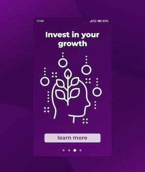 Investieren sie in die mobile app für persönliches wachstum ui
