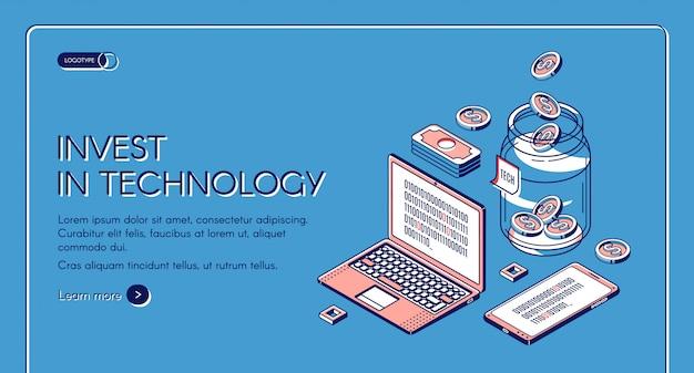 Investieren sie in technologie-webvorlagen
