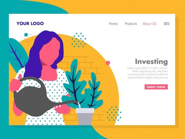 Investition illustration für die landingpage