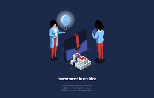 Investition in die idee konzeption im cartoon 3d-stil.