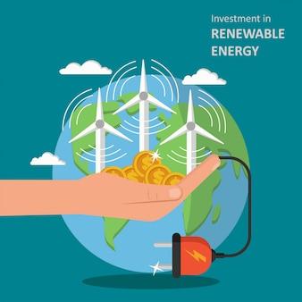 Investition in illustration der erneuerbaren energie