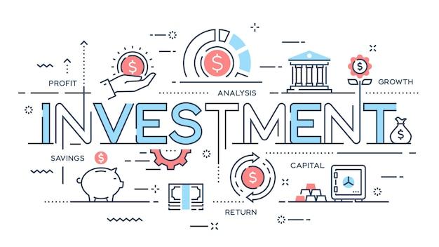 Investition, strategie, gewinn, kapital, wachstum, ersparnis - eine dünne linie